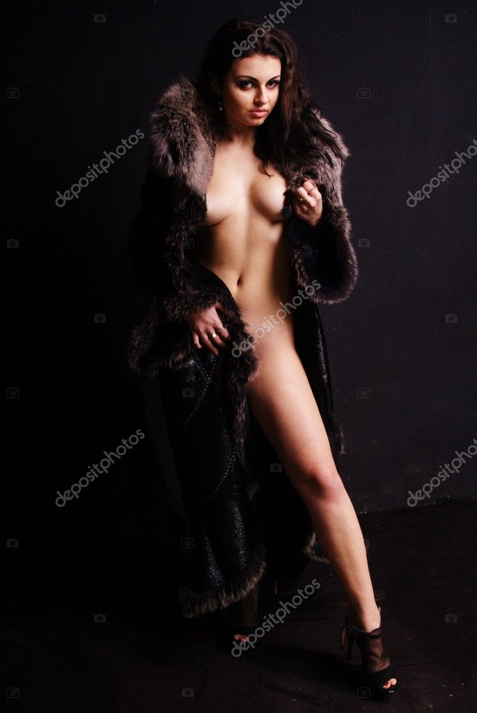 naked woman with fur coat